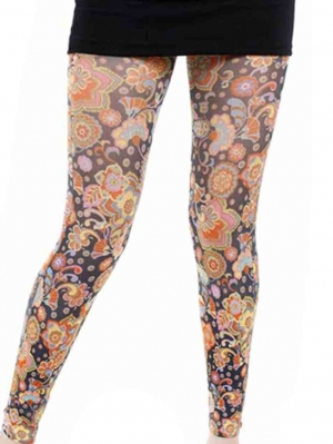 Vibrant Flower Printed Footless Tights