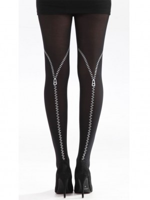 Flocked Zips Tights
