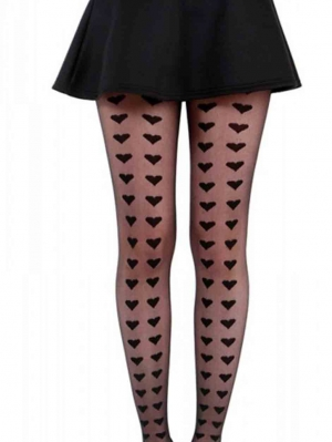 Big Heart Rows Sheer Tights