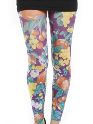 Abstract Fruit Printed Footless Tights